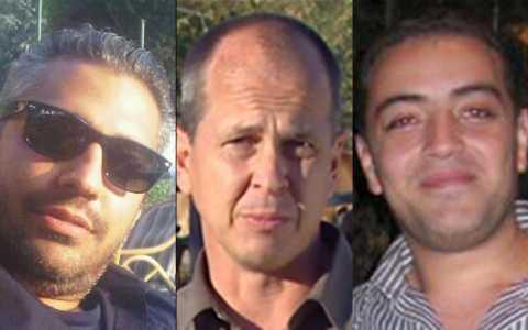 Al Jazeera English bureau chief Mohamed Fahmy, award-winning Nairobi-based correspondent Peter Greste, and Cairo-based producer Baher Mohamed.