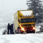 Lorry stuck at Glenfin