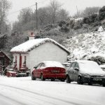Snow covered Glenfin cottage