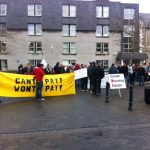 Protesters outside Council offices in Lifford