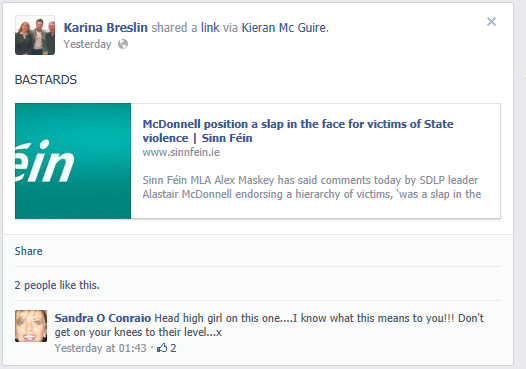 Comments Sinn Fein Cllr Karina Carlin posted on her facebook page