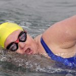 Anne Marie nears the end of another gruelling training swim in Sheephaven Bay.