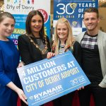 Derry City and Strabane District Council Mayor, Councillor Elisha McCallion and Lisa Buckley from Ryanair  who presented Kim Newlands who is the 4th Million Passenger to fly with Ryanair from City of Derry Airport, with vouchers for free flights. Included are Kim's partner David Waters and Charlene Shongo, Commercial and Marketing Manager, City of Derry Airport. Picture Martin McKeown. Inpresspics.com. 12.05.15