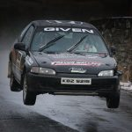 Ambrose Given from Convoy goes the highest on Satge 2 in his Honda Civic on the Minis Stages call at the weekend.