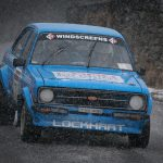 On of the Competitors make their way through the snow on Stage 2 on Saturday on The Minir Stage Rally