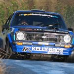 Jonathan Pringle who was leading the rally at the half way point in his Escort. Photo Brian McDaid