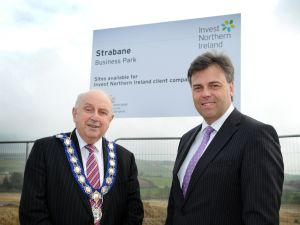 Invest Northern IrelandÕs Chief Executive Alastair Hamilton has announced the completion of the first phase of the new business park at Melmount Road in Strabane. Pictured (L Ð R) are Thomas Kerrigan, Strabane District Council, and Alastair Hamilton, Invest NI. Photo M T Hurson/Harrisons