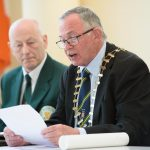 Terence Slowey, Cathaoirleach of Donegal County Council speaking   at the special reception  in recognition of Josie Murray  achievements and contribution to Martial Arts in Donegal, Ireland and Internationally. Photo Clive Wasson