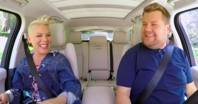 Pink's Gleeful Carpool Karaoke Really Gets The Party Started For James Corden!
