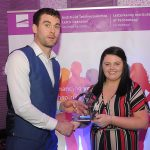 Donegal All Ireland winner Eamon McGee who was special guest at the Lyit Student Achievement Awards present  the Leadership Award 2019 to  Annie Carr, Gaisce Society. Photo by Gerard McHugh