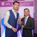 Donegal All Ireland winner Eamon McGee who was special guest at the Lyit Student Achievement Awards present  Award for Civic, Charity & Community Engagement 2019  to Lukas Vymlatil, International Society. Photo by Gerard McHugh