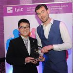 Donegal All Ireland winner Eamon McGee who was special guest at the Lyit Student Achievement Awards present  Most Outstanding Club Member 2019  to Edward Ng, Malaysian Society  . Photo by Gerard McHugh