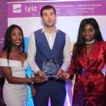 Donegal All Ireland winner Eamon McGee who was special guest at the Lyit Student Achievement Awards present the  Best Society Photograph 2019 Award to the  African Society  . Photo by Gerard McHugh