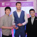 Donegal All Ireland winner Eamon McGee who was special guest at the Lyit Student Achievement Awards present the Best Society Promotional Video 2019 to the  Malaysian Society  . Photo by Gerard McHugh