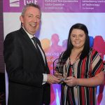 Mr Paul Hannigan President of Lyit presents a scholarship award to Annie Carr, Gaisce Society at the Lyit Student Achievements Awards in the Radisson Hotel Letterkenny on Thursday night.Photo by Gerard McHugh