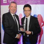 Mr Paul Hannigan President of Lyit presents a scholarship award to Jo Ezer Lau, Ultimate Frisbee Club at the Lyit Student Achievements Awards in the Radisson Hotel Letterkenny on Thursday night.Photo by Gerard McHugh