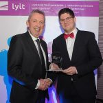 Mr Paul Hannigan President of Lyit presents a scholarship award to Florian Moss, Badminton Society at the Lyit Student Achievements Awards in the Radisson Hotel Letterkenny on Thursday night.Photo by Gerard McHugh
