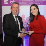 Mr Paul Hannigan President of Lyit presents a scholarship award to Emily McTigue, Wellbeing Societyat the Lyit Student Achievements Awards in the Radisson Hotel Letterkenny on Thursday night.Photo by Gerard McHugh