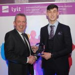 Mr Paul Hannigan President of Lyit presents Michael Langan (GAA Men), with the Individual Sports Star Award at the Lyit Student Achievements Awards in the Radisson Hotel Letterkenny on Thursday night.Photo by Gerard McHugh