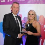 Mr Paul Hannigan President of Lyit presents Victoria Kelly (GAA Ladies), with the Special Recognition in Sport Award at the Lyit Student Achievements Awards in the Radisson Hotel Letterkenny on Thursday night.Photo by Gerard McHugh