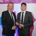 Mr Paul Hannigan President of Lyit presents a GAA Men's Team, Team of the Year to team captain Callum Gallagher  at the Lyit Student Achievements Awards in the Radisson Hotel Letterkenny on Thursday night.Photo by Gerard McHugh