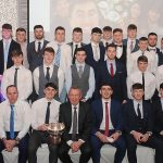Lyit Gaa team & Management team pictured after receiving their Trench Cup winners medals at the Lyit Student Achievements Awards night in the Radission Hotel Letterkenny on Thursday night .Included in the photo are Paul Hannigan President Lyit ,Billy Bennett VP for Academic Affairs and Registrar ,Henry McGarvey VP for Finance and Corporate Services ,Paddy Gallagher Lyit Student Union Officer .Photo by Gerard McHugh
