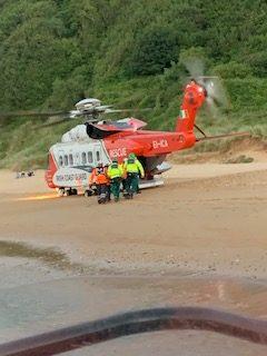 Helicopter, Airlifted Man, Letterkenny University Hospital, Kinnagoe Bay, Highland Radio, Letterkenny, Donegal