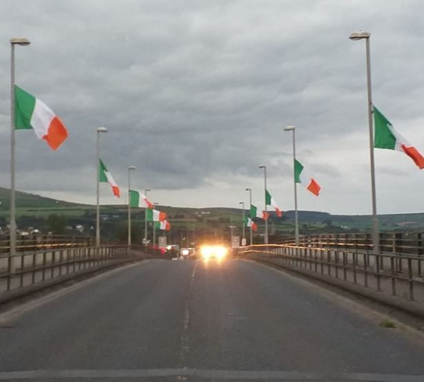 Flags ripped down from, Lifford Bridge, Highland Radio, Letterkenny, Donegal